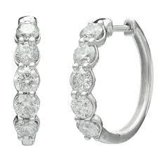white gold diamond hoop earrings diamond hoop earrings in 14kt white gold 2cttw
