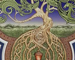 ouroboros tree digital print arbor great oak acorn