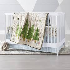 Crib Bedding Green Nature Trail Woodland Crib Bedding Crate And Barrel