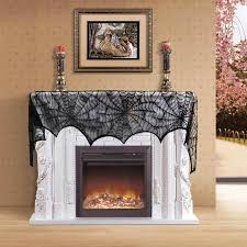 Halloween Party Decorations Halloween Decoration Black Spider Fireplace Cover Scarf Lace