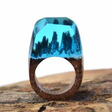 buy wood rings images Secret blue snowy mountains in wooden ring exquisite resin wood jpg