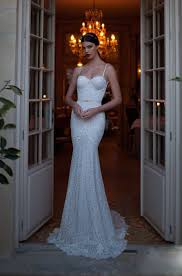 pearls spaghetti strap lace backless trumpet mermaid wedding dress