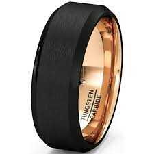 mens black wedding rings wedding band two tone 8mm black tungsten ring brushed beveled edge