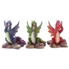 see hear speak no evil dragon figurines dragons mantle and shelves