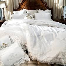 cream white 100 egyptian cotton bedding set lace duvet cover satin bed sheet bedding