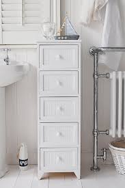 White Bathroom Storage Drawers Maine Narrow Freestanding Bathroom Cabinet With 5 Drawers For