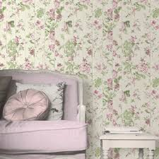 Faux Wood Wallpaper by Muriva Floral Rose Flower Pattern Wallpaper Faux Wood Beam L13603