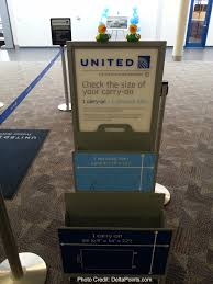 united charging for carry on bags the double carry on bag checker unit at united check in sbn delta