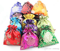 luxury floral large candy favor bags cloth silk
