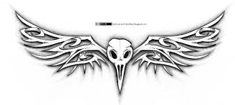 tattoos and doodles bird skull and bone likes wings