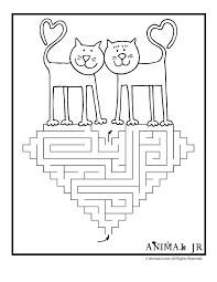 love cats printable valentine maze animal jr