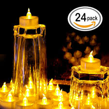 24 pcs led tea lights candles battery powered small flickering omgai