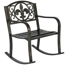 White Glider Rocker Patio Metal Rocking Chair Porch Seat Deck Outdoor Backyard Glider