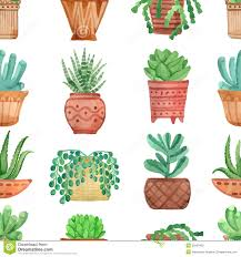 cute pots for plants watercolor seamless pattern house plants in pots stock vector