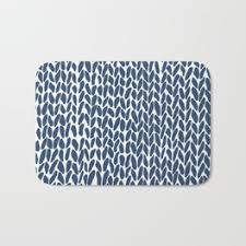 Navy Bath Mat Knit Bath Mats Society6