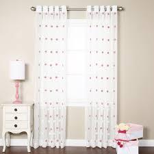 White Polka Dot Sheer Curtains Best Home Fashion Inc Pom Pom Polka Dots Sheer Grommet Curtain