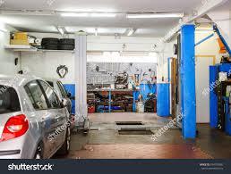 garage service workshop tools hydraulic platform stock photo
