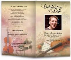 funeral programs template song theme harmony letter single fold funeral program template