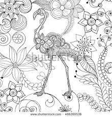 flamingo fantasy flower garden animals hand stock vector 466260536