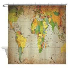 Map Fabric Amazon Com Cafepress Vintage World Map Shower Curtain