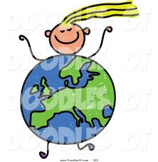 vector clipart of a childs sketch of a running with a