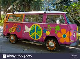 van volkswagen hippie vintage vw hippie bus on a street in clearwater florida stock