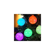 set of 6 color changing led glass ornament lights