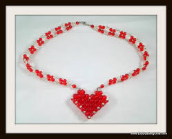 heart beaded necklace images Diy right angle weave beaded heart tutorial jpg
