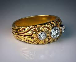 mens gold ring nouveau men s diamond gold ring for sale at 1stdibs