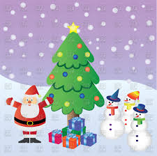 santa claus with presents near christmas tree and three snowman