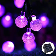 icicle solar string lights 20ft 30 led waterproof outdoor globe