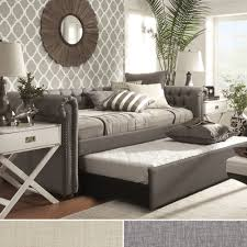 lavish midcentury daybed bedroom idea with sunburst mirror also