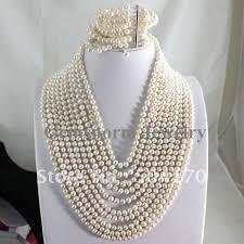 freshwater pearl necklace set images Fabulous white pearl set 10rows pearl necklace bracelet shiny jpg