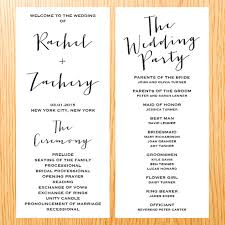 simple wedding program simple wedding ceremony wedding program card modern minimalist