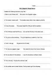 english worksheets adjective clause who worksheet