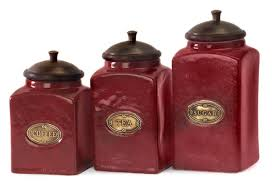 amazon com set of 3 rustic red lidded ceramic kitchen canisters