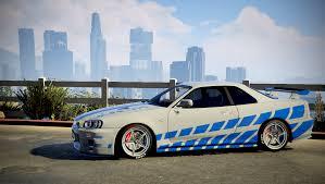 blue nissan skyline 2 fast 2 furious nissan skyline r34 livery gta5 mods com