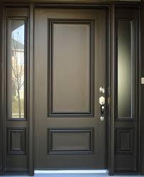 Frosted Glass Exterior Doors Brown Painted Color Best Solid Wood Exterior Door With Narrow