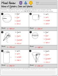 volume of cylinders cones and spheres mixed review worksheet tpt