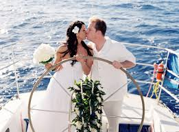 wedding on a boat just married on a sail boat hawaii destination wedding