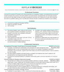 Certified Hand Therapist Resume Sample by Best Occupational Therapist Resume Example Livecareer