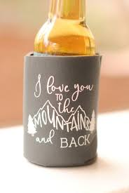 wedding koozie favors fall wedding favors personalized rustic mountain wedding can