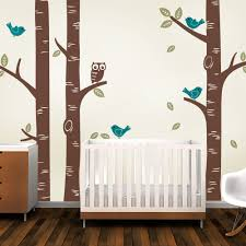 Bird Wall Decals For Nursery by Birch Tree With Owl And Birds Wall Decal