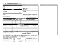 standard bill of lading form template examples