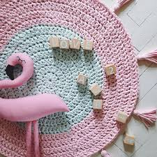 Pink Rug Nursery Handmade Crochet Rug Mint And Pink Rug Round Cotton Kids Rug
