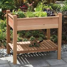 Garden Bench With Planters 10 Easy Pieces Wooden Elevated Planters Gardenista