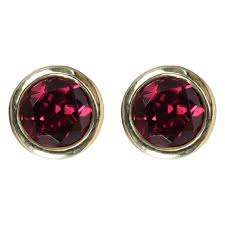 garnet stud earrings 9ct yellow gold garnet rubover stud earrings gemstone