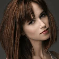 hairstyles with bangs and middle part 50 medium haircuts with bangs to bring movement and flexibility to