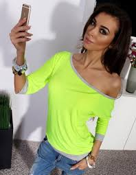 neon blouse shoulder blouses tops neon green blue blouse fall