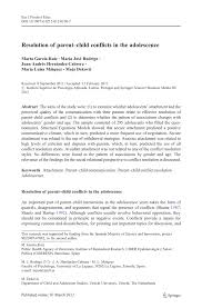 resolution of parent u2013child conflicts in the adolescence pdf